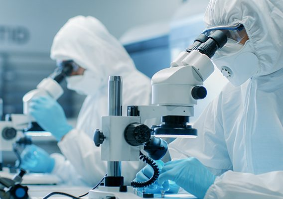 Two Engineers/ Scientists/ Technicians in Sterile Cleanroom Suits Use Microscopes for Component Adjustment and Research. They Work in an Electronic Components Manufacturing Factory.